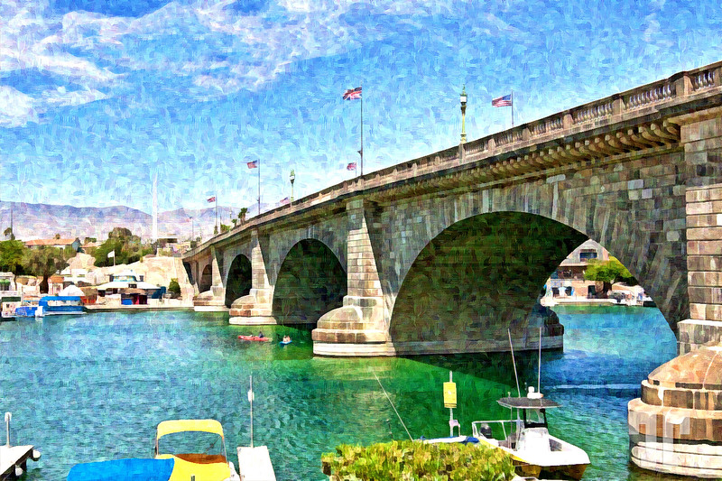 London Bridge Kavasu City, Arizona - Digital Art print by Tatiana Travelways
