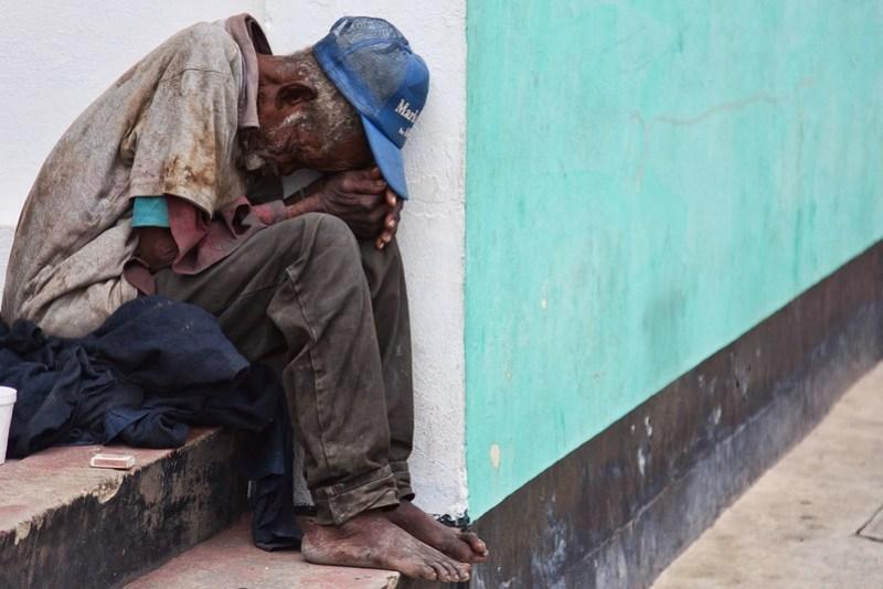 Poor distressed man in Belize City
