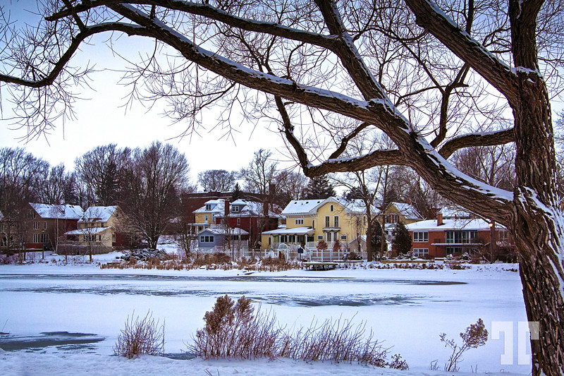 Iced Avon River in Stratford, Ontario