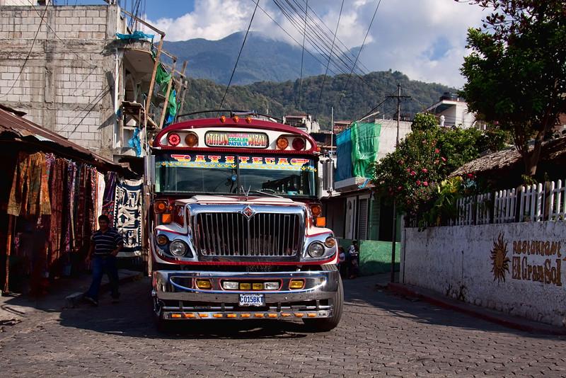 Chiken Bus in Santiago, Guatemala