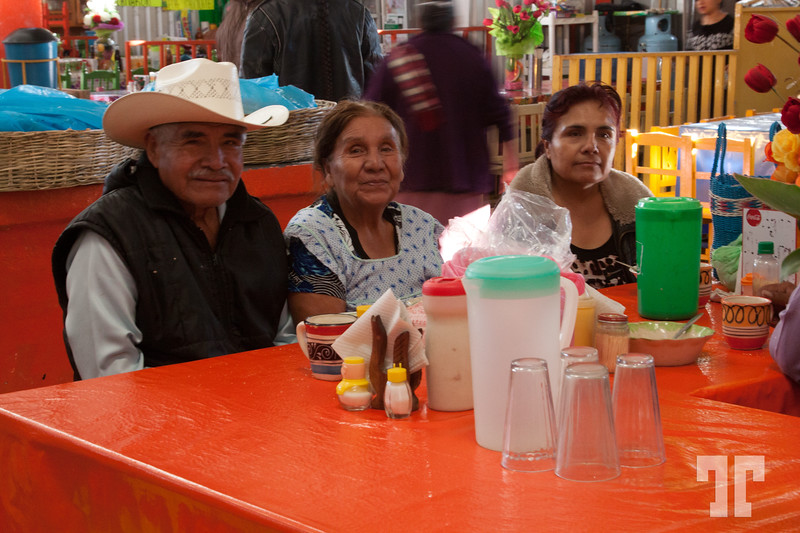 Mexican family in the Acatlan de Asorio, Puebla market