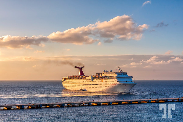 Cruise ship at golden hour
