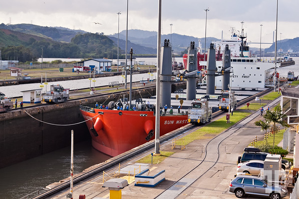 Crossing Panama Canal At Miraflores locks