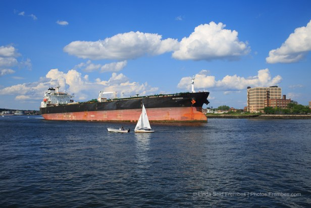 An oil tanker enters Boston Harbor.