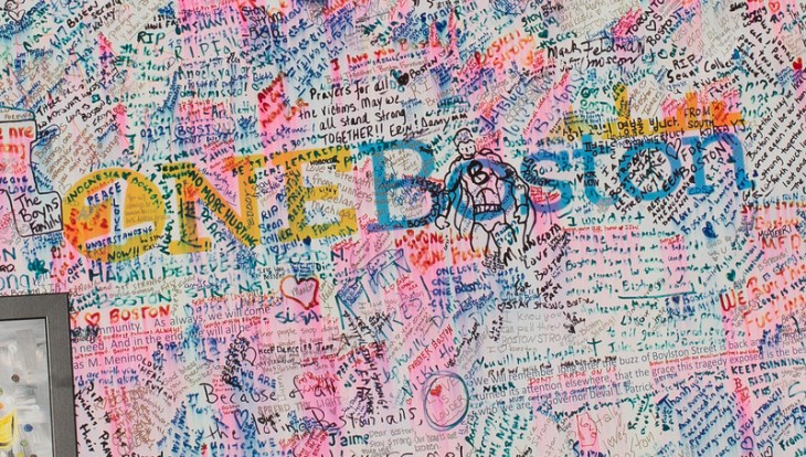 """""""Love is Louder"""" is one of many messages on this One Boston board in Copley Square. #BostonStrong"""