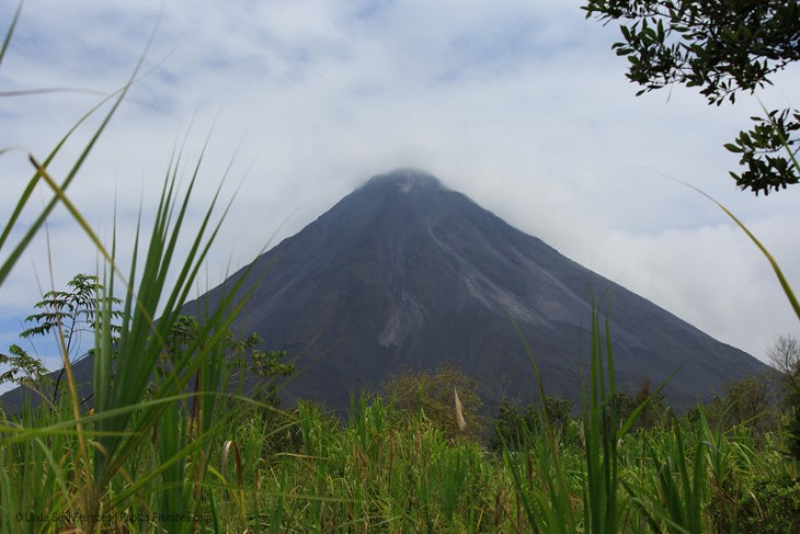 A view of Arenal Volcano from a national park trail.