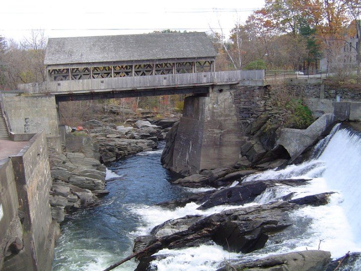 Photo of the old Quechee covered bridge taken from the back deck of Simon Pearce in October 2002.