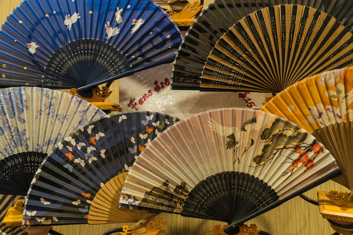 A variety of fans for sale at the Gaslight Gathering
