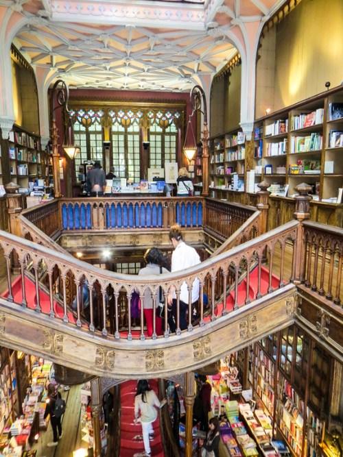 the stairs in livraria lello bookstore in porto