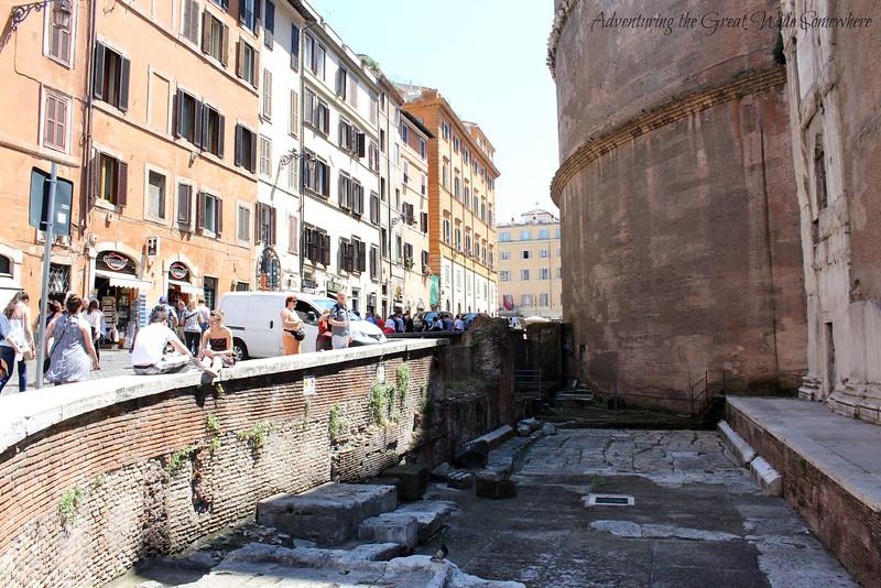Visitors Lounge Alongside the Pantheon in Piazza della Rotunda