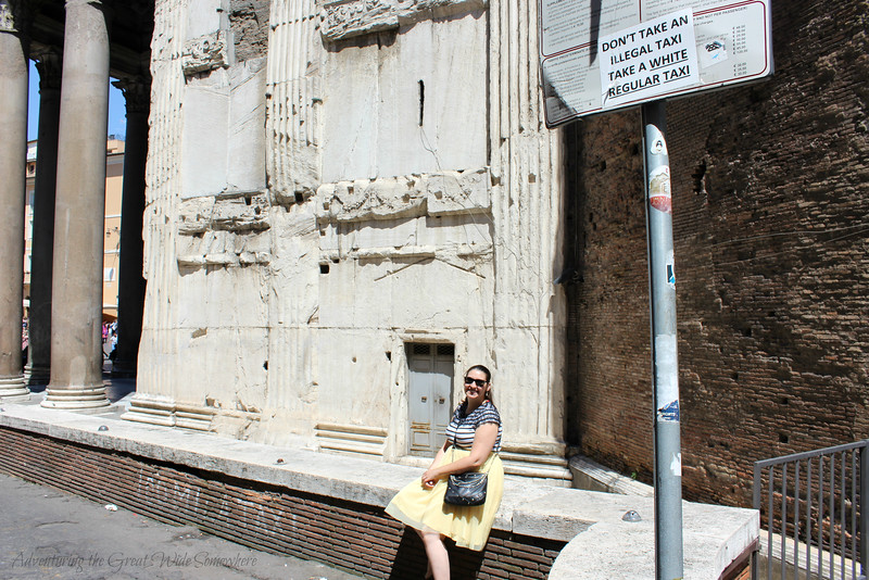 Posing at a Taxi Stop by the Pantheon in Rome, Italy