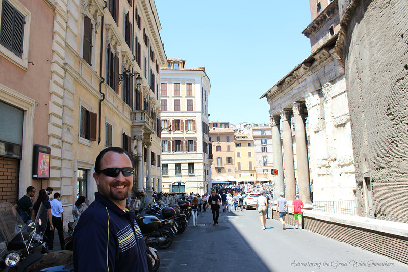 Dan Alongside the Pantheon in Rome's Piazza della Rotunda