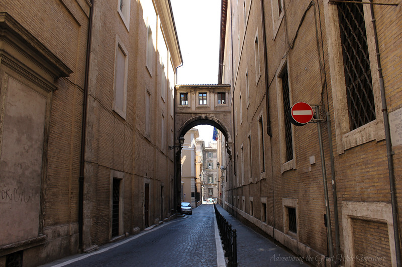 A rare isolated road in Rome, Italy