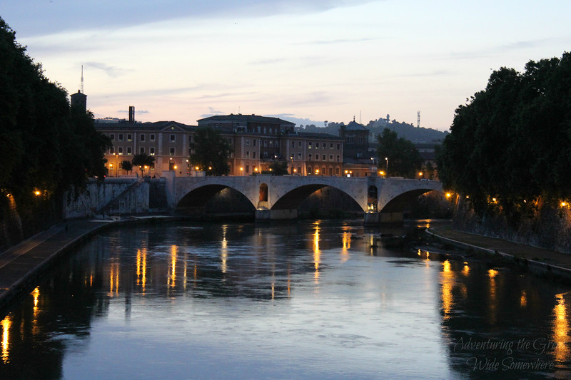 The Tiber River in Rome Seen at Night