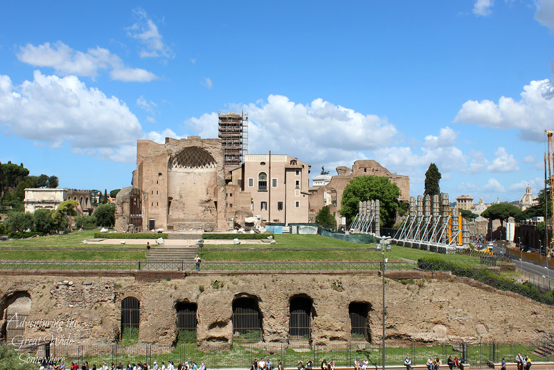 View of the Roman Forum and Palatine Hill from the second level of the Colosseum