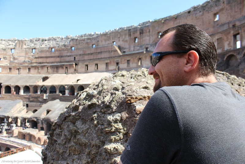 Dan looking out over the Colosseum while listening to his audio guide.