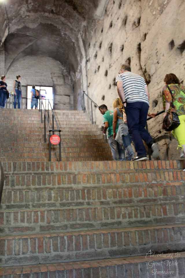Steep stairs to the second level of the world famous Colosseum in Rome.