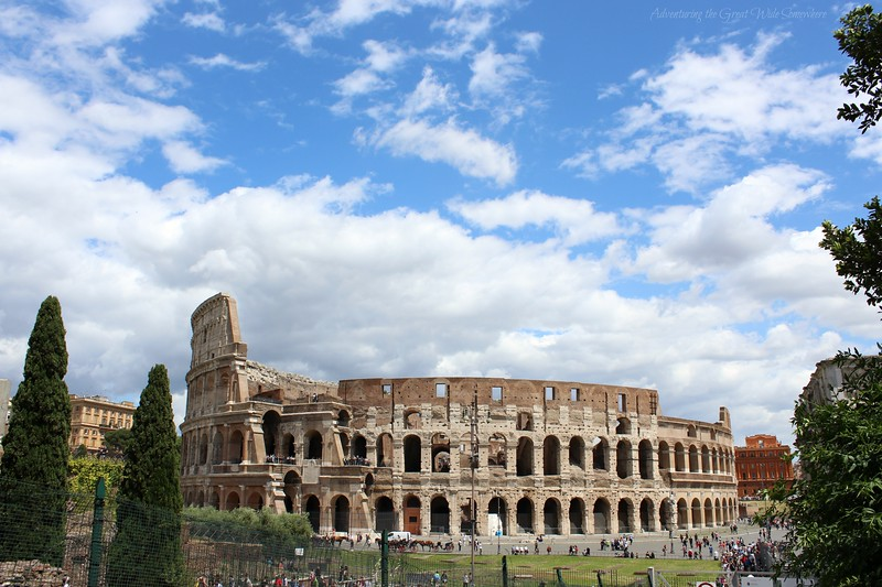 The iconic shot of the whole Colosseum exterior, taken from inside the Roman Forum.
