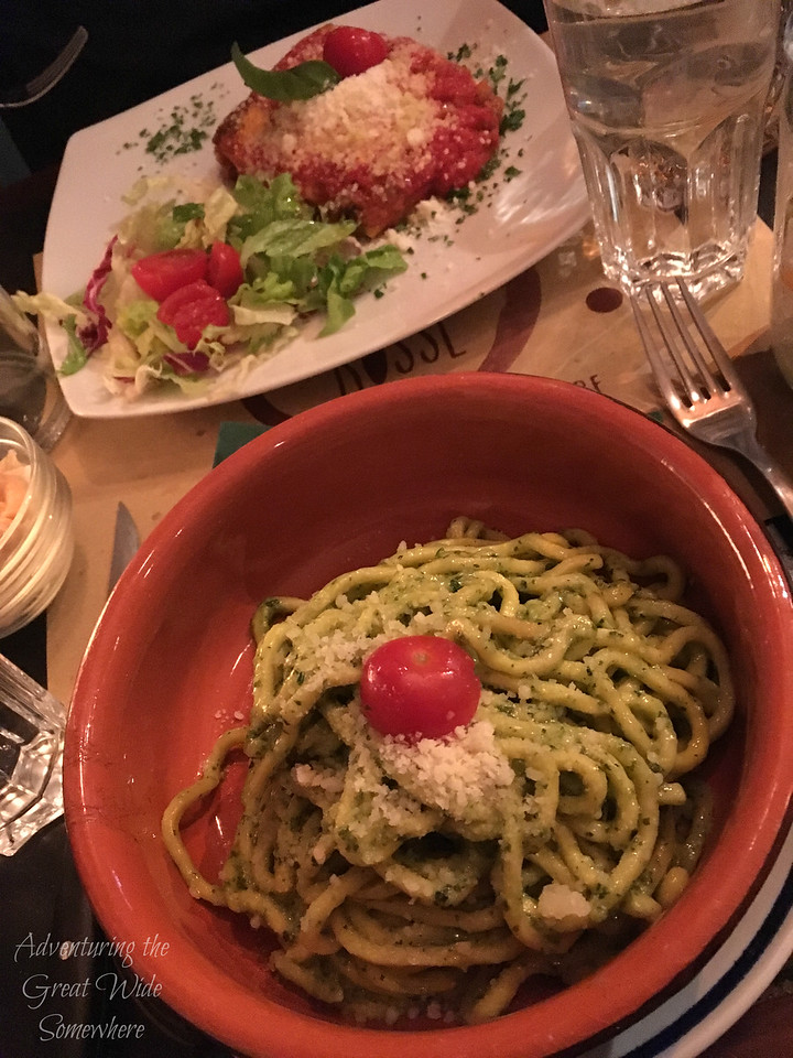 Pasta and chicken parm at Ombre Rosse, a fun place to grab dinner while in Rome.