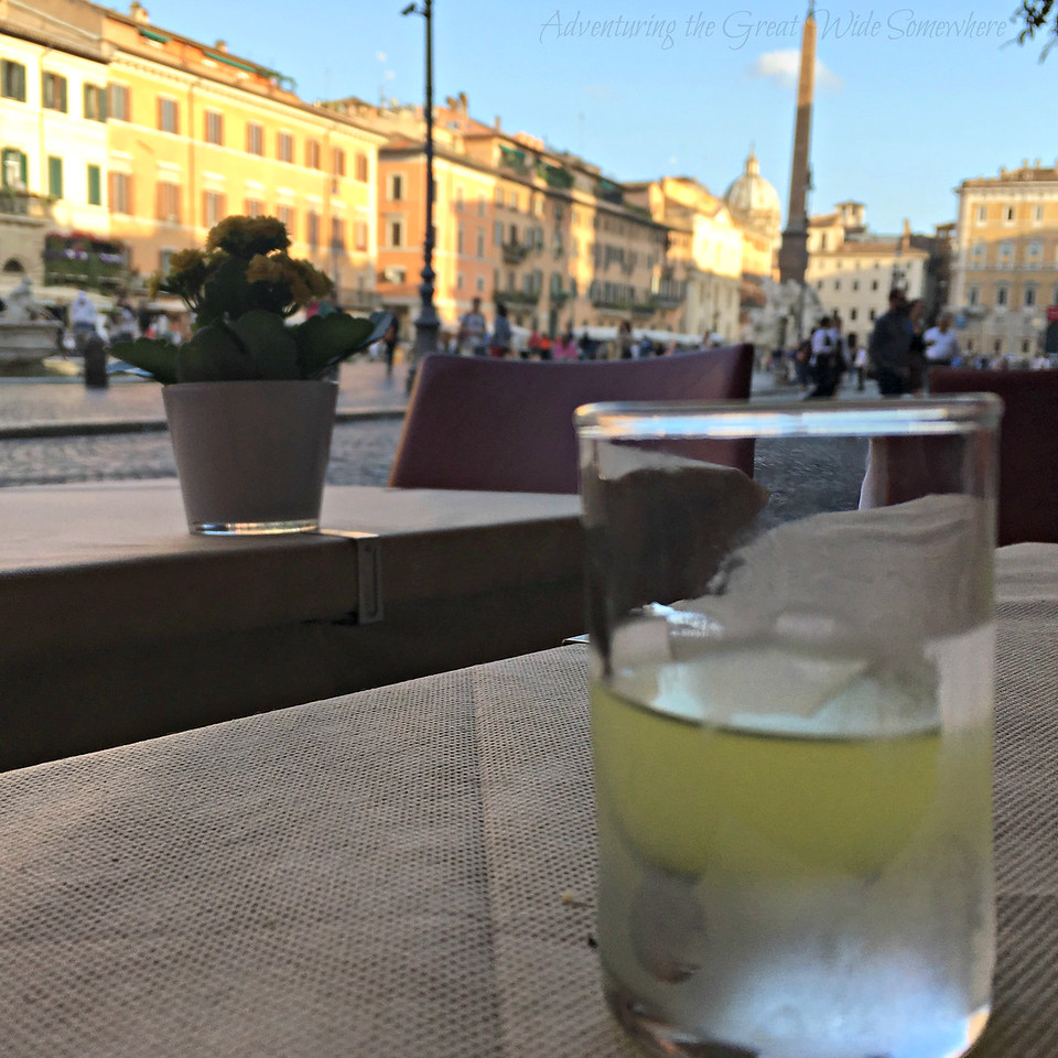 Rome Day 2: Complimentary post-dinner limoncello at Bernini!
