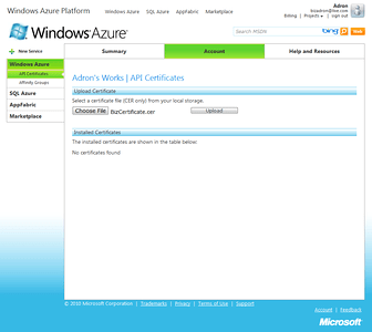 API Certificates Upload