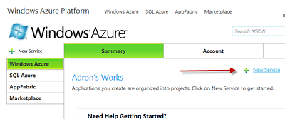 Starting a Windows Azure Service