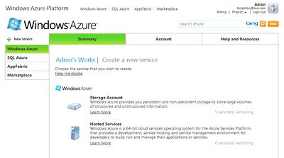 Windows Azure Create a Service