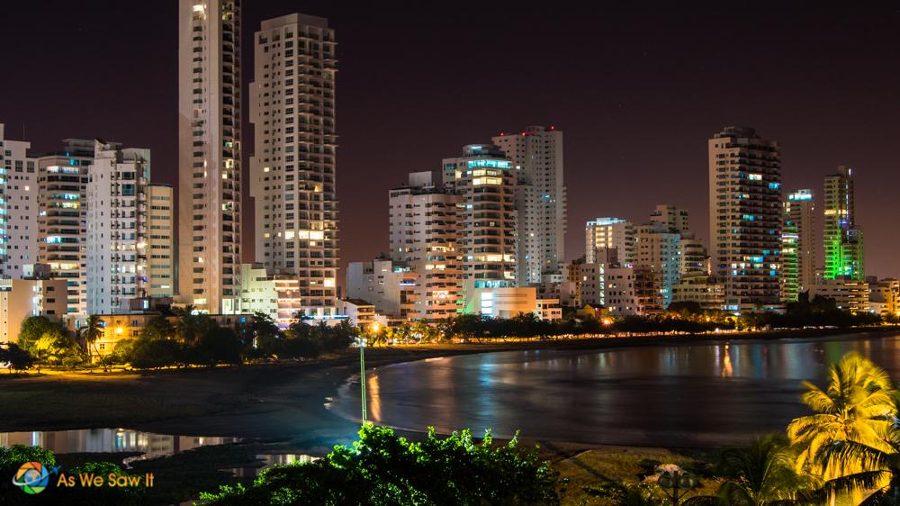 Modern Cartagena at night.