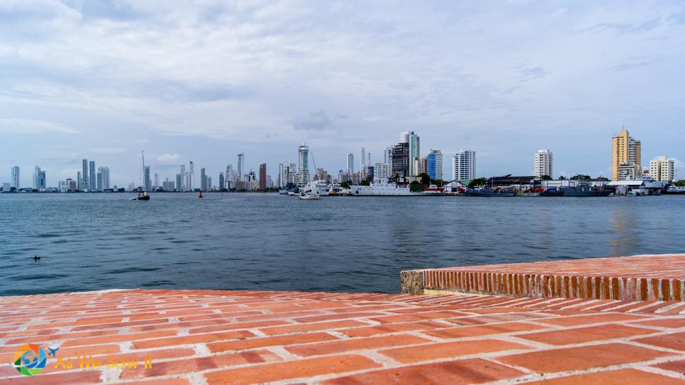 Cartagena's skyscrapers as seen from Castillo San Felipe de Barajas on San Lazaro hill.
