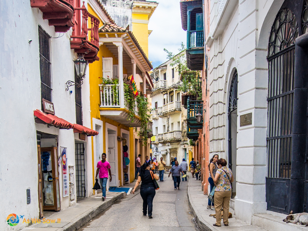 Pastel colored narrow streets of Cartagena are wonderful for wandering.