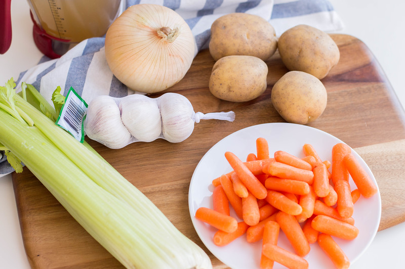vegetable ingredients for homemade soup
