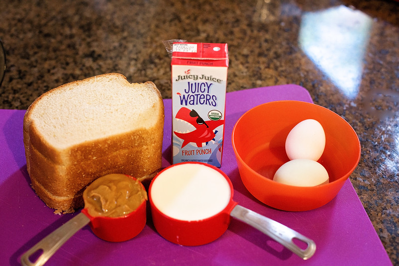 #ad Since we are staying at home, we decided to make the most delicious PB&J French Toast, using only a few easy ingredients and Juicy Juice #JuicyJuiceCrew