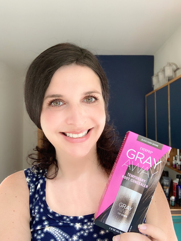 #GrayAwayPartner Using Gray Away between salon visits. Our experience with Gray Away Temporary Root Concealer Spray and Root Touch-Up Quick Stick. #GrayAway
