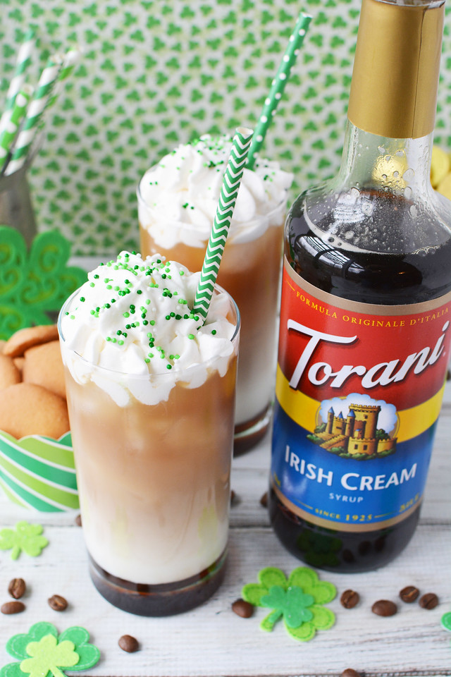 #ad This Fancy, Festive St. Patrick's Day Irish Cream Cold Brew Coffee Drink #Recipe is perfect to ring in St. Patrick's Day and spring! #toranispringdrinks @ToraniFlavor
