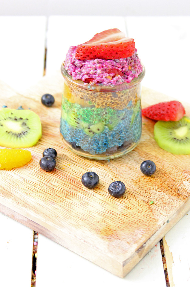 This Rainbow Chia Pudding Recipe is a colorful and happy way to start the day! My pudding cups make a fabulous breakfast, snack, or dessert.