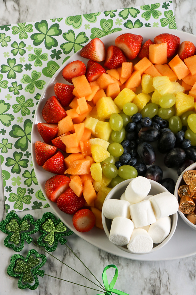 This delightful St. Patrick's Day Rainbow Fruit Platter is everything you need this year! Make it for your family, class, or small gathering.