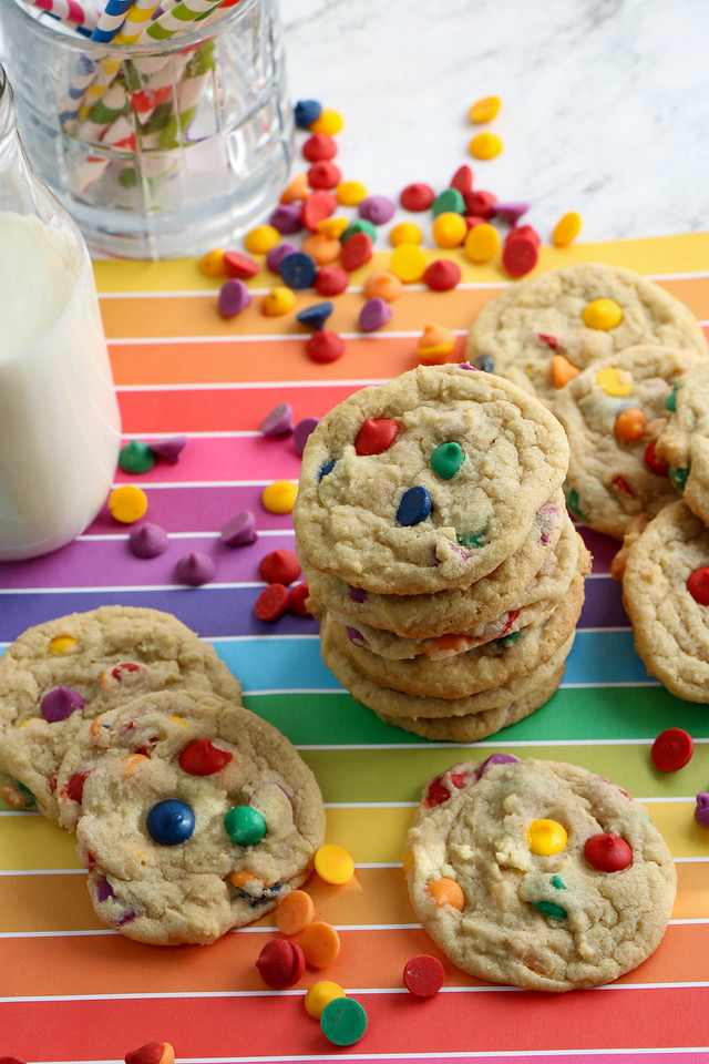 This Rainbow Chip Cookies Recipe is a fun snack that fits easily into rainbow, unicorn, St. Patrick's Day, Pride, and mermaid themed parties.