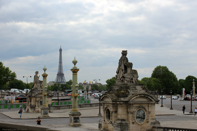 The Eiffel Tower seen from the exit to the Tuileries.
