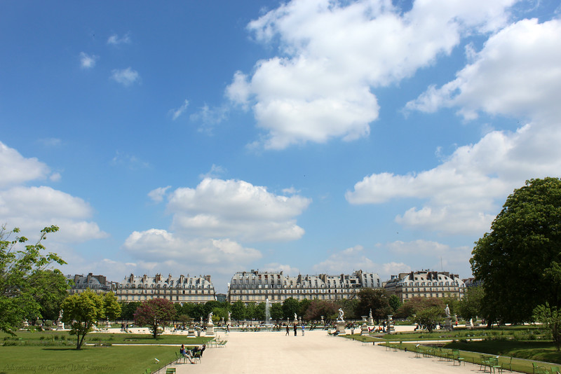 View of the Musee d'Orsay from a walking path in the Tuileries.