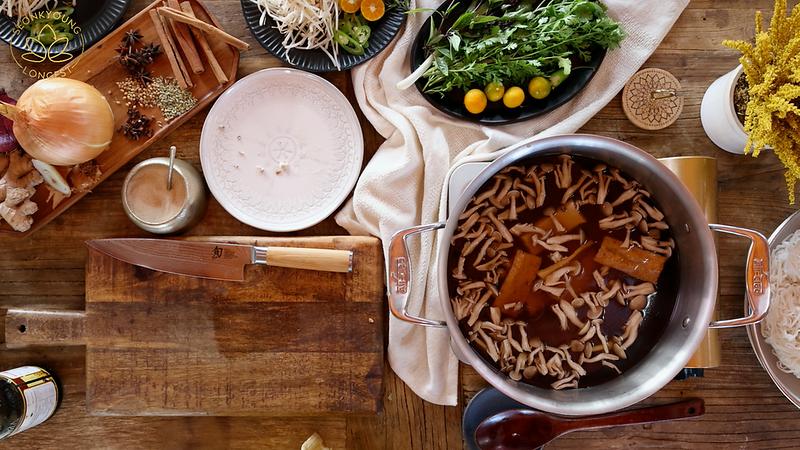 BEST Vegan Pho Recipe, add mushrooms and fried tofu into the broth