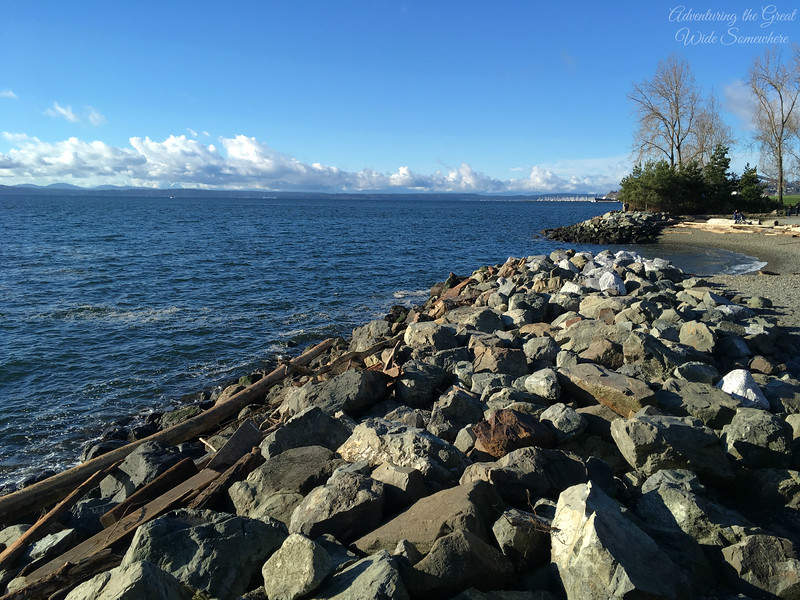 Rocky Stretch of Beach at Myrtle Edwards Park in Seattle