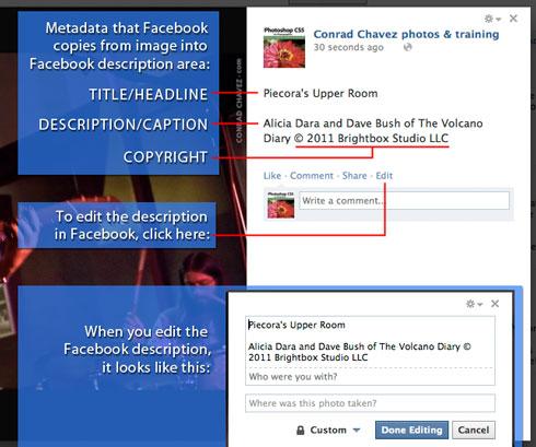 Facebook now displays copyright and caption metadata