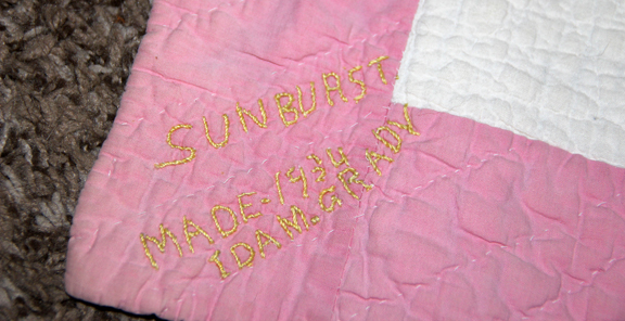 Hand-stitched quilt label Sunburst, made 1934, Ida M. Grady