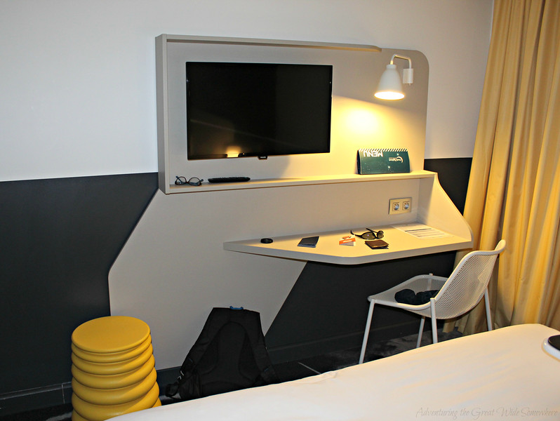 The perfect compact desk space in our hotel room at the Hotel Ibis Styles CDG, Paris France.
