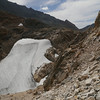 Looking down on the pass and the giant snowfield.