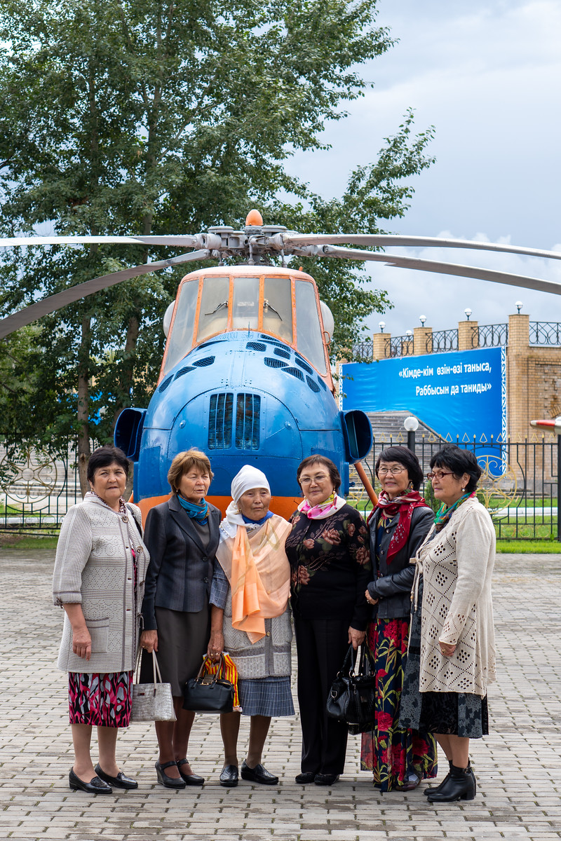 Ladies posing for helicopter
