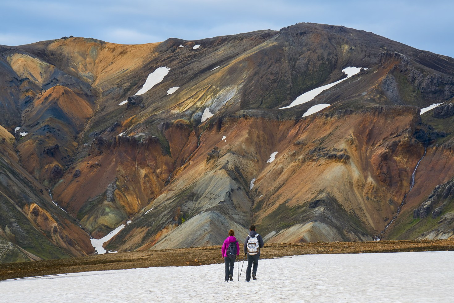 Hikers in a colorful landscape