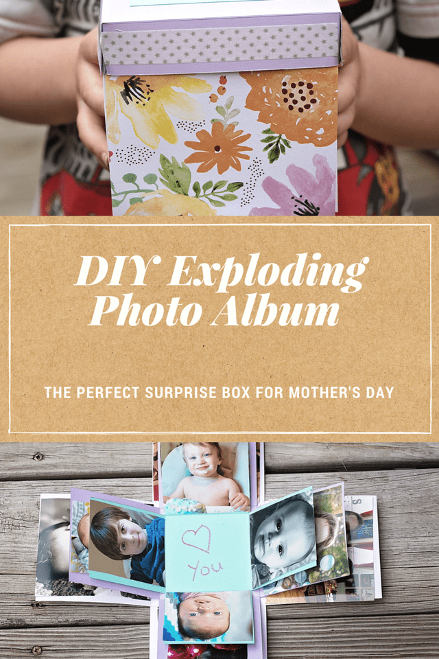 This beautiful exploding photo album looks like a paper box but it's actually a surprise! So easy to make. The perfect #MothersDay gift! #HallmarkForMom #ad