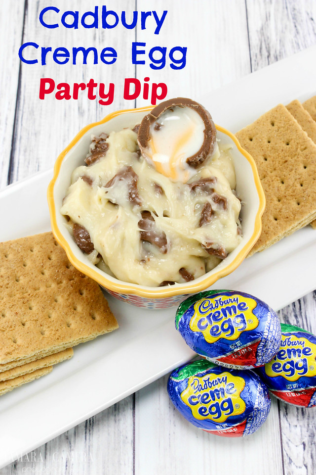 This Cadbury Creme Egg Dip is made with Cadbury Eggs, and other easy ingredients and is so delicious! Serve with fruit, cookies, or graham crackers. #recipe