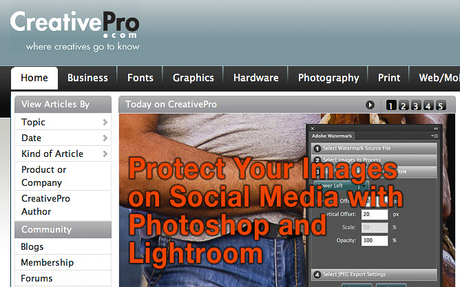 Protect Your Images on Social Media with Photoshop and Lightroom on CreativePro.com